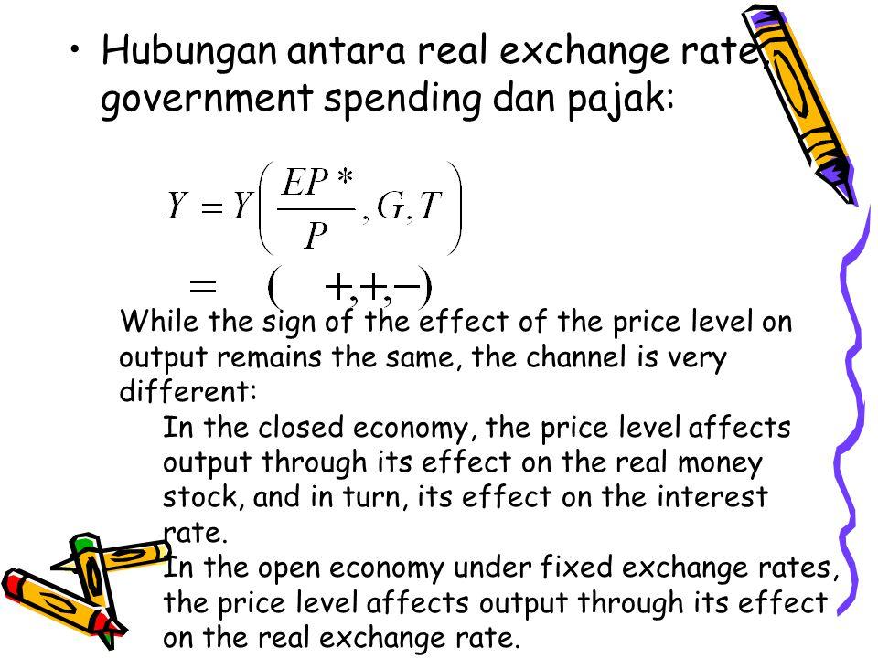 Hubungan antara real exchange rate, government spending dan pajak: