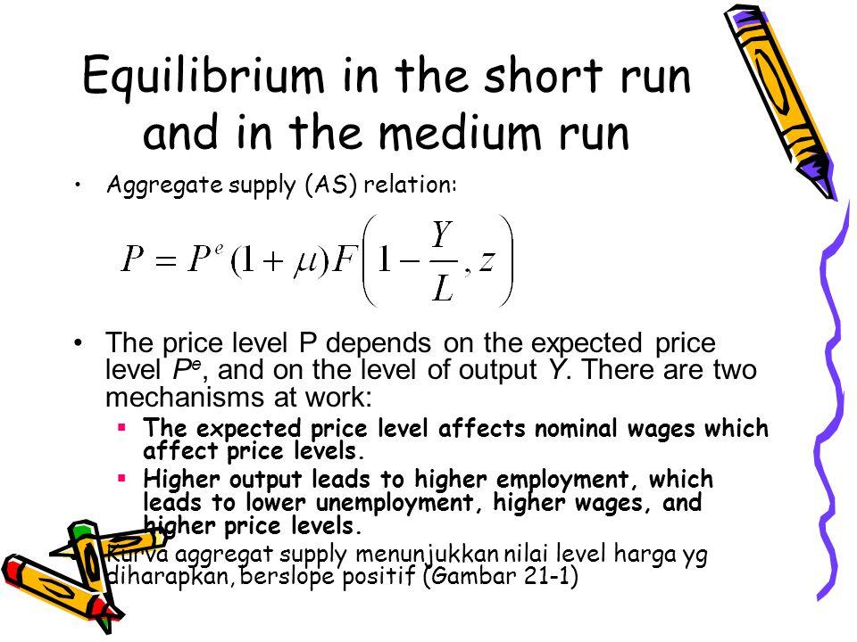 Equilibrium in the short run and in the medium run