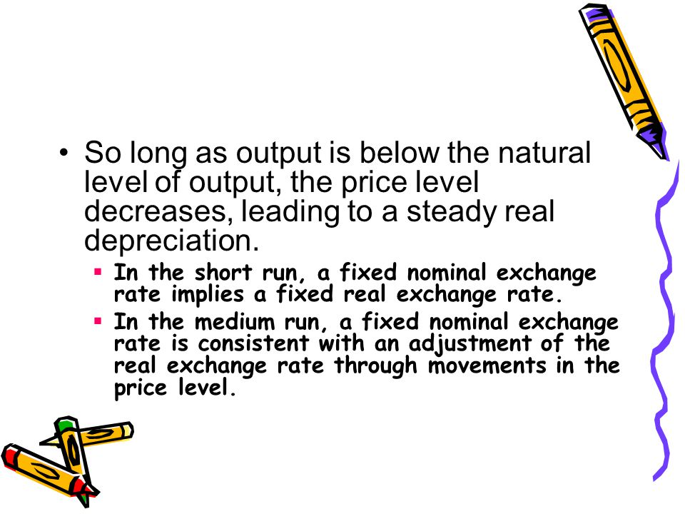 So long as output is below the natural level of output, the price level decreases, leading to a steady real depreciation.
