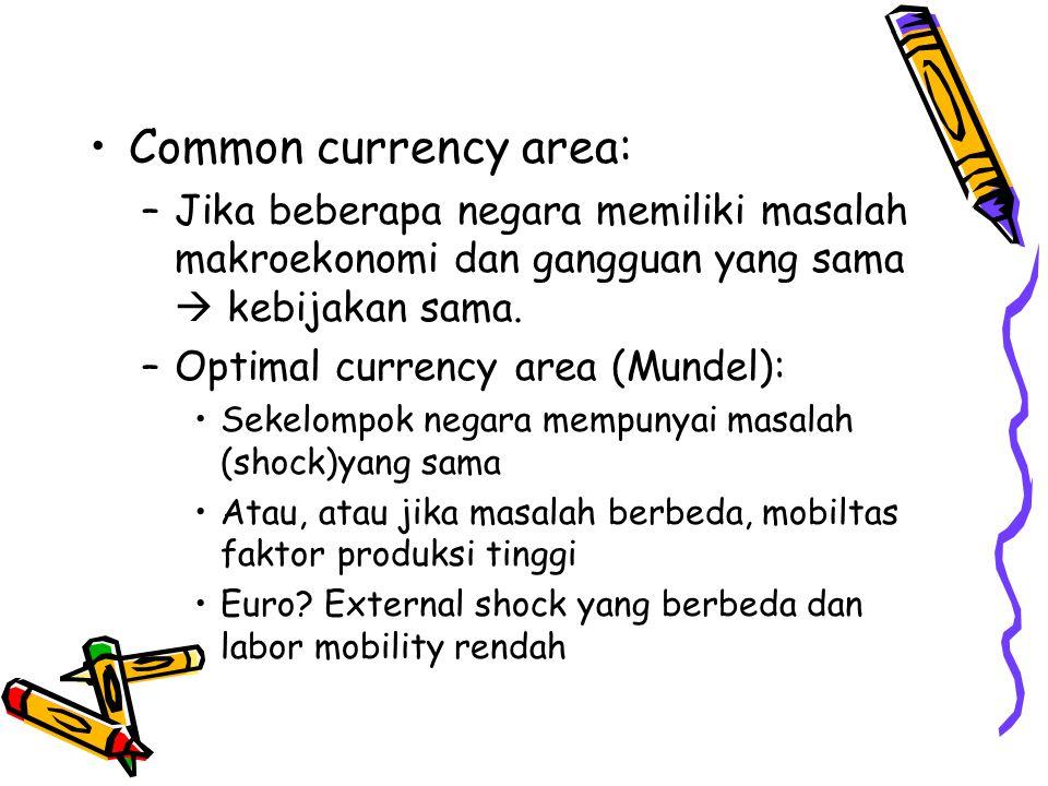 Common currency area: Jika beberapa negara memiliki masalah makroekonomi dan gangguan yang sama  kebijakan sama.