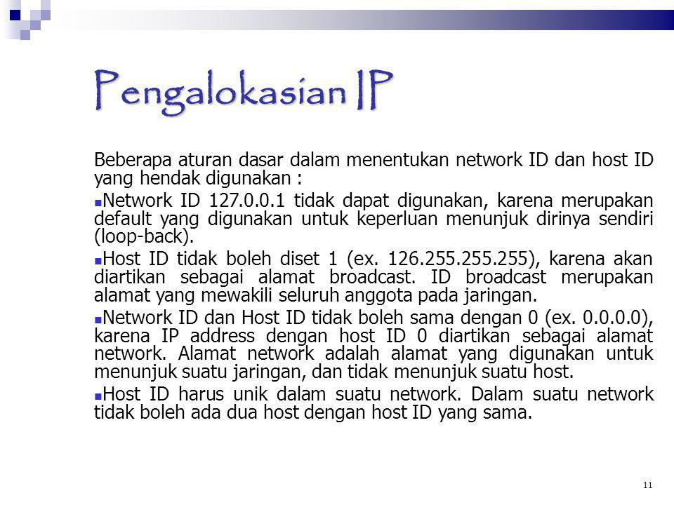 Pengalokasian IP Beberapa aturan dasar dalam menentukan network ID dan host ID yang hendak digunakan :