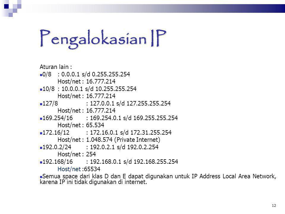 Pengalokasian IP Aturan lain : 0/8 : 0.0.0.1 s/d 0.255.255.254