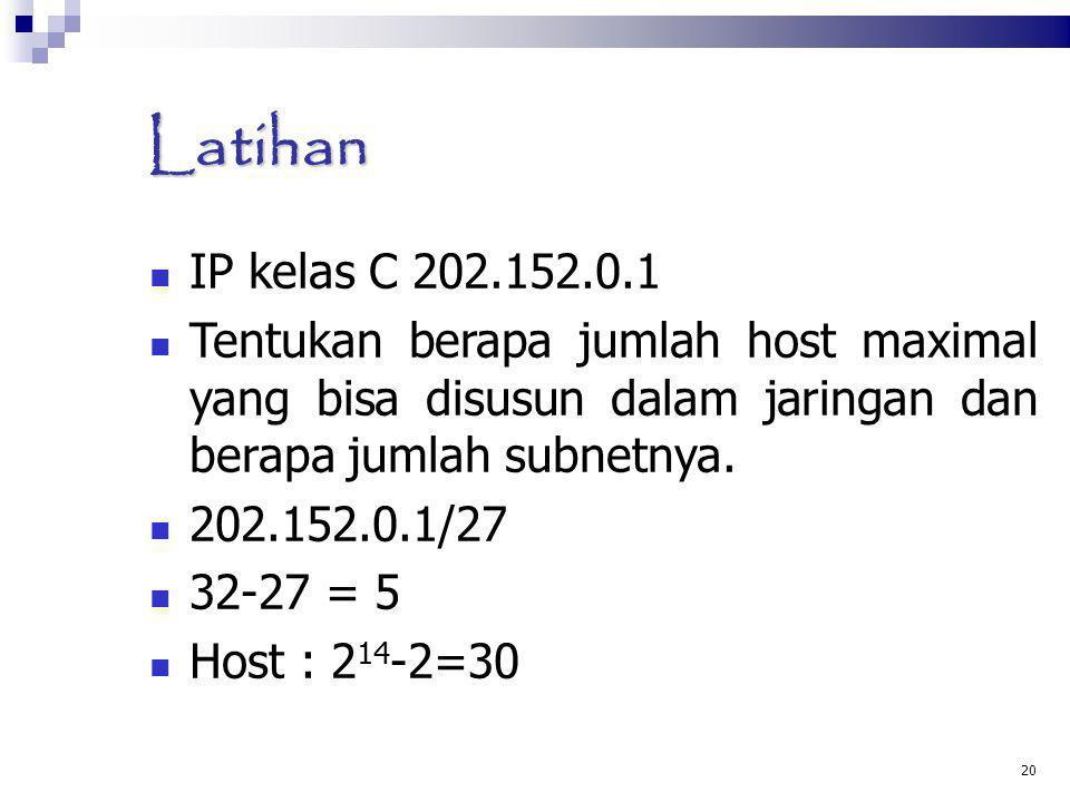 Latihan IP kelas C 202.152.0.1. Tentukan berapa jumlah host maximal yang bisa disusun dalam jaringan dan berapa jumlah subnetnya.