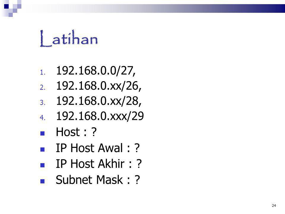 Latihan Host : IP Host Awal : IP Host Akhir : Subnet Mask :