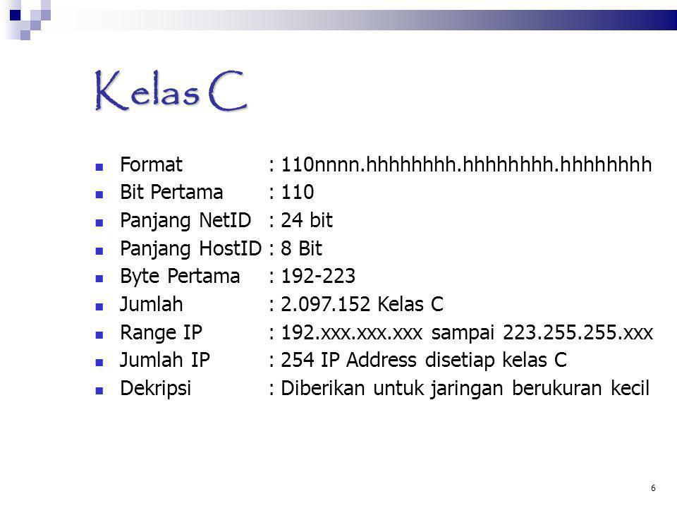 Kelas C Format : 110nnnn.hhhhhhhh.hhhhhhhh.hhhhhhhh Bit Pertama : 110