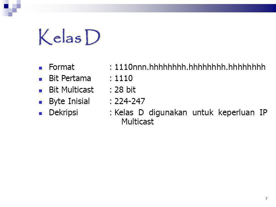Kelas D Format : 1110nnn.hhhhhhhh.hhhhhhhh.hhhhhhhh Bit Pertama : 1110