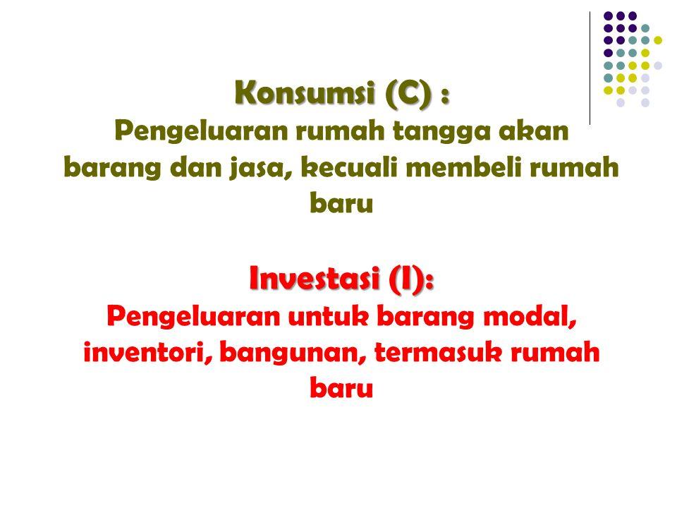 Konsumsi (C) : Pengeluaran rumah tangga akan barang dan jasa, kecuali membeli rumah baru Investasi (I): Pengeluaran untuk barang modal, inventori, bangunan, termasuk rumah baru