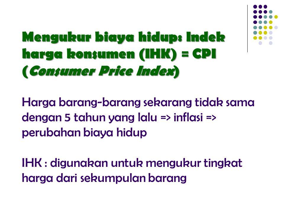 Mengukur biaya hidup: Indek harga konsumen (IHK) = CPI (Consumer Price Index) Harga barang-barang sekarang tidak sama dengan 5 tahun yang lalu => inflasi => perubahan biaya hidup IHK : digunakan untuk mengukur tingkat harga dari sekumpulan barang