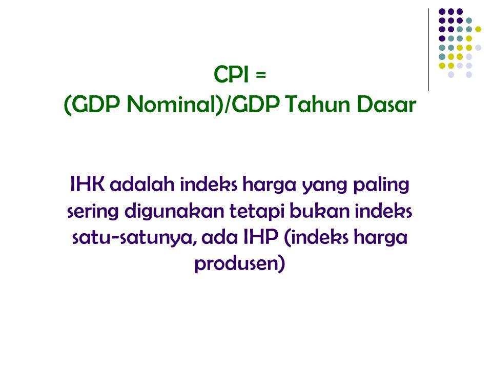 CPI = (GDP Nominal)/GDP Tahun Dasar IHK adalah indeks harga yang paling sering digunakan tetapi bukan indeks satu-satunya, ada IHP (indeks harga produsen)