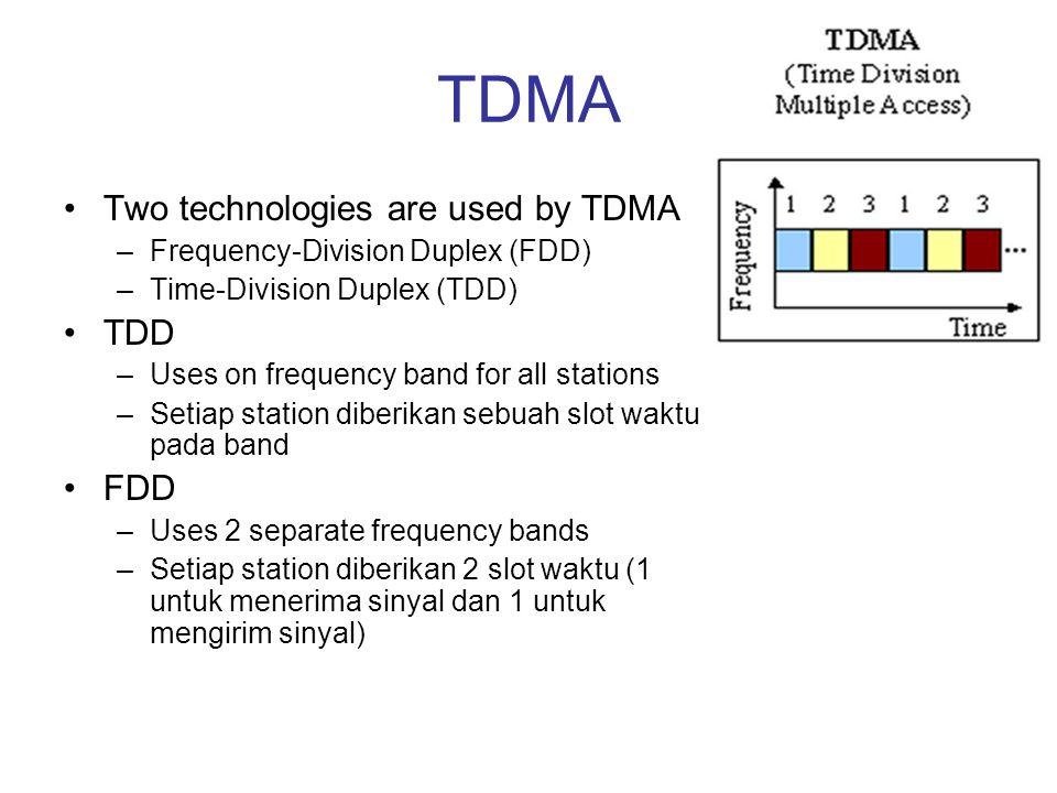 TDMA Two technologies are used by TDMA TDD FDD