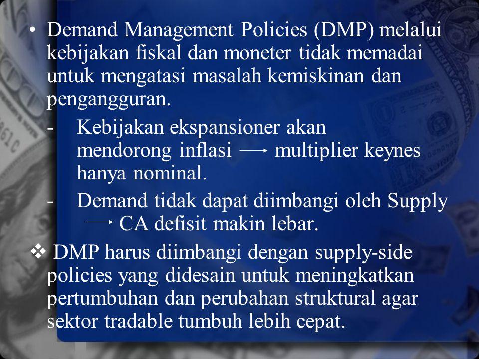 Demand Management Policies (DMP) melalui kebijakan fiskal dan moneter tidak memadai untuk mengatasi masalah kemiskinan dan pengangguran.
