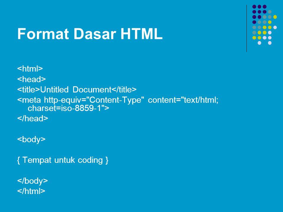Format Dasar HTML <html> <head>