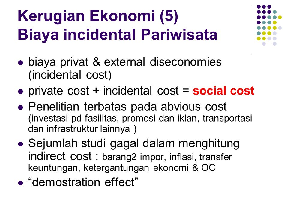 Kerugian Ekonomi (5) Biaya incidental Pariwisata