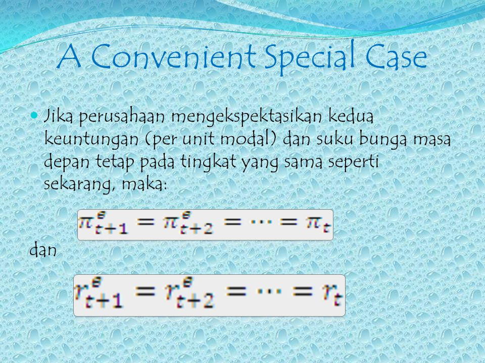 A Convenient Special Case