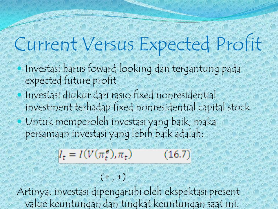 Current Versus Expected Profit