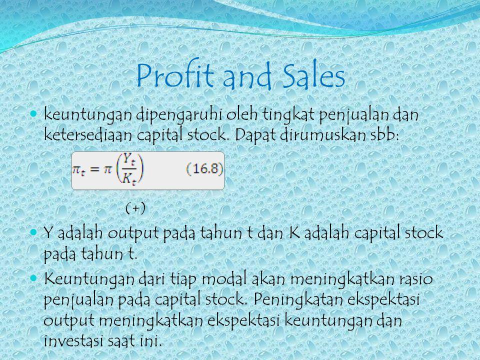Profit and Sales keuntungan dipengaruhi oleh tingkat penjualan dan ketersediaan capital stock. Dapat dirumuskan sbb: