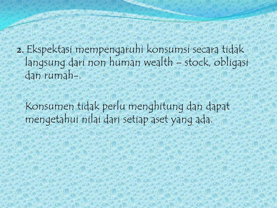 2. Ekspektasi mempengaruhi konsumsi secara tidak langsung dari non human wealth – stock, obligasi dan rumah-.