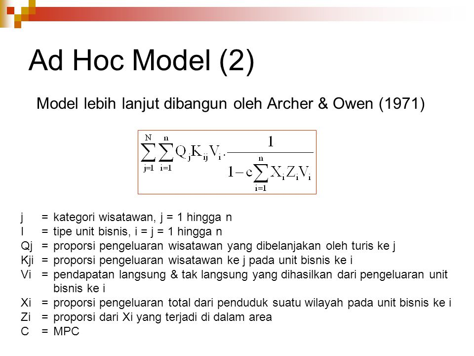 Ad Hoc Model (2) Model lebih lanjut dibangun oleh Archer & Owen (1971)