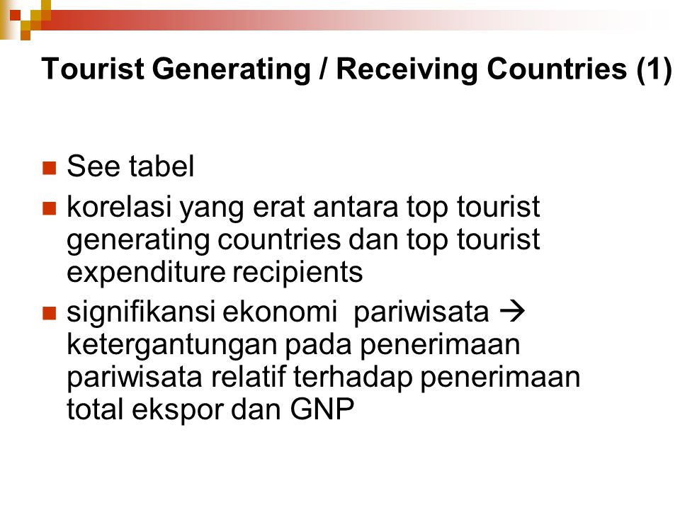 Tourist Generating / Receiving Countries (1)