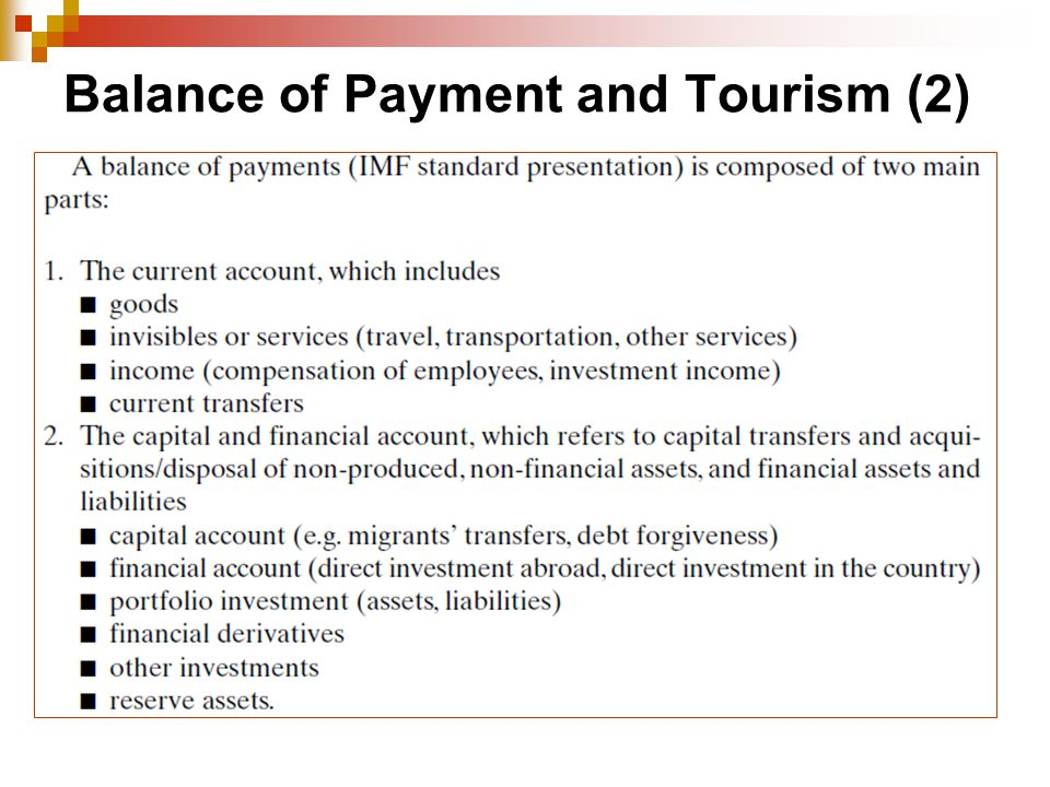 Balance of Payment and Tourism (2)