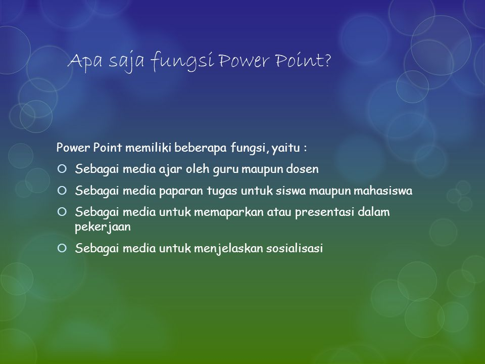 Apa saja fungsi Power Point