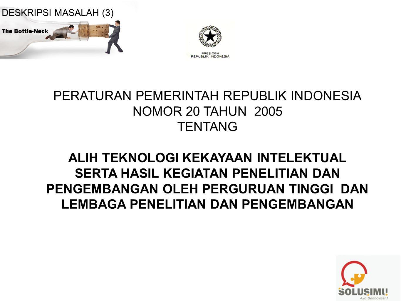 PERATURAN PEMERINTAH REPUBLIK INDONESIA NOMOR 20 TAHUN 2005 TENTANG