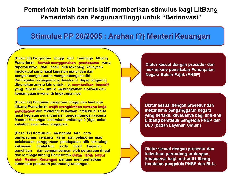 Stimulus PP 20/2005 : Arahan ( ) Menteri Keuangan