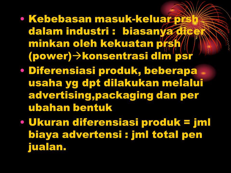 Kebebasan masuk-keluar prsh dalam industri : biasanya dicer minkan oleh kekuatan prsh (power)konsentrasi dlm psr