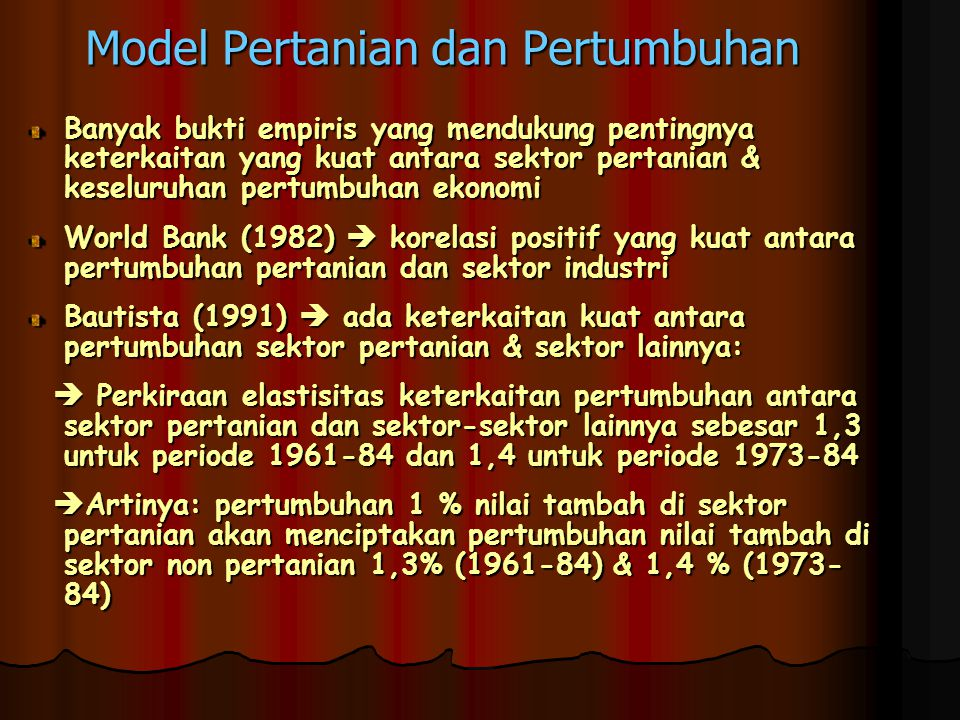 Model Pertanian dan Pertumbuhan