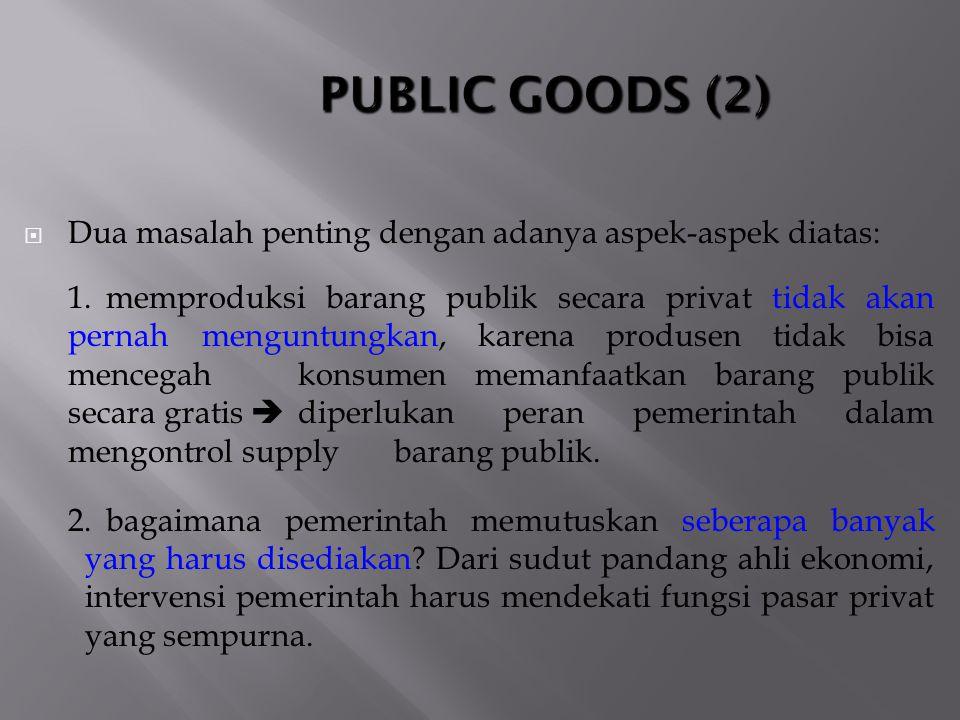 PUBLIC GOODS (2) Dua masalah penting dengan adanya aspek-aspek diatas: