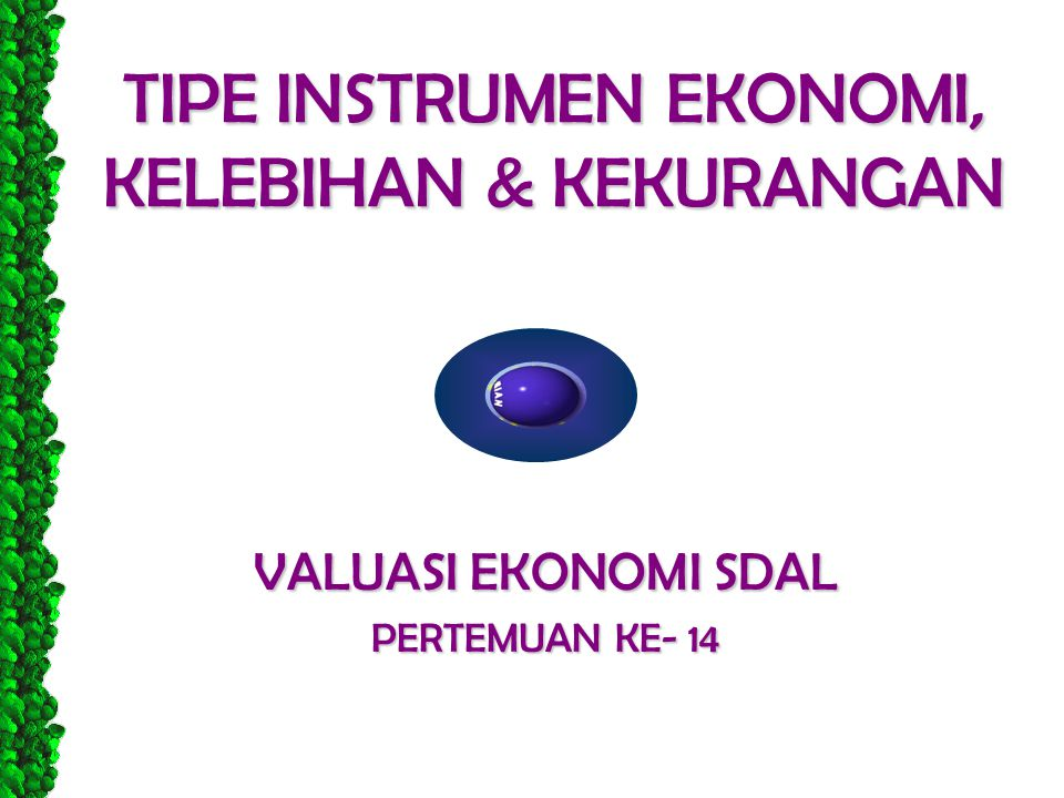 TIPE INSTRUMEN EKONOMI, KELEBIHAN & KEKURANGAN
