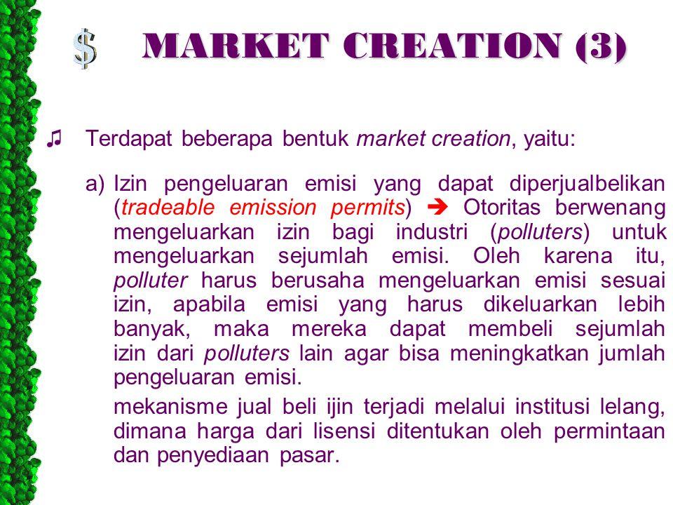 MARKET CREATION (3) ♫ Terdapat beberapa bentuk market creation, yaitu: