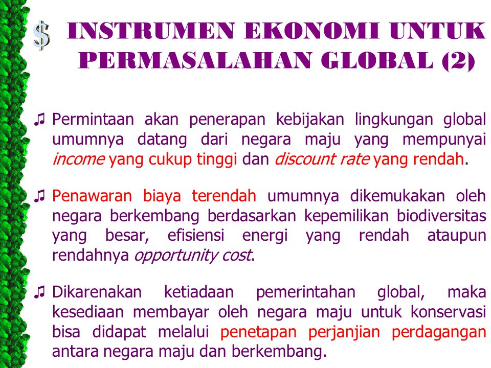 INSTRUMEN EKONOMI UNTUK PERMASALAHAN GLOBAL (2)