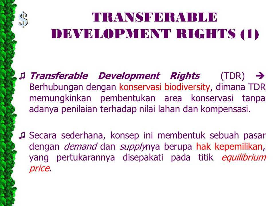 TRANSFERABLE DEVELOPMENT RIGHTS (1)