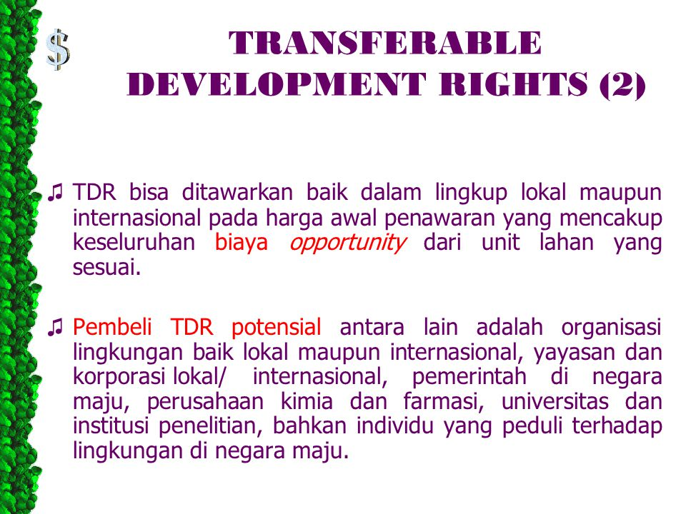 TRANSFERABLE DEVELOPMENT RIGHTS (2)