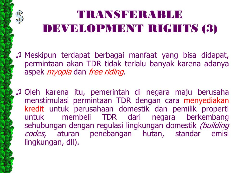 TRANSFERABLE DEVELOPMENT RIGHTS (3)