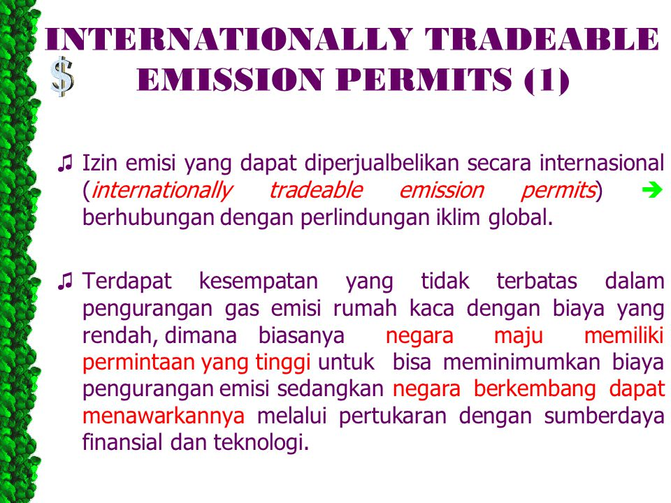 INTERNATIONALLY TRADEABLE EMISSION PERMITS (1)
