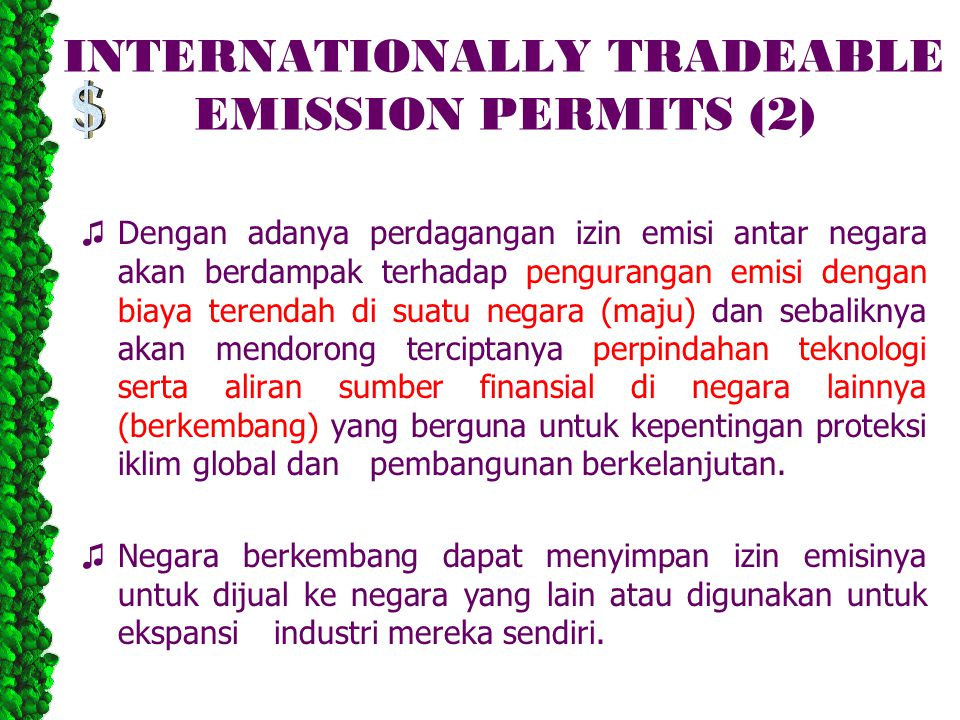 INTERNATIONALLY TRADEABLE EMISSION PERMITS (2)