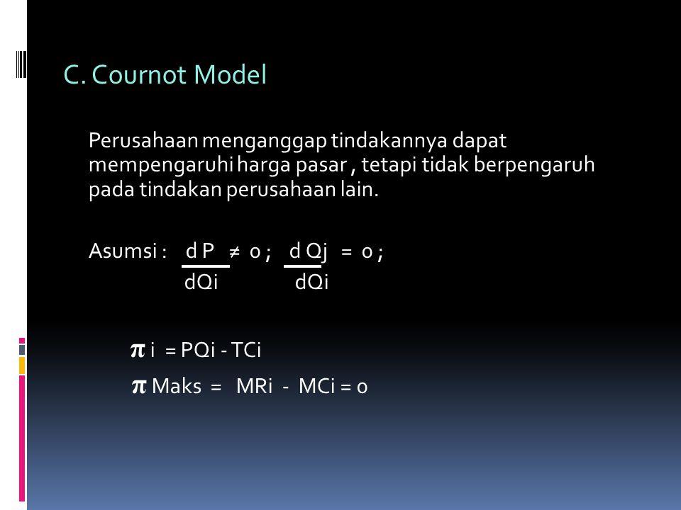 C. Cournot Model Asumsi : d P ≠ 0 ; d Qj = 0 ; dQi dQi π i = PQi - TCi