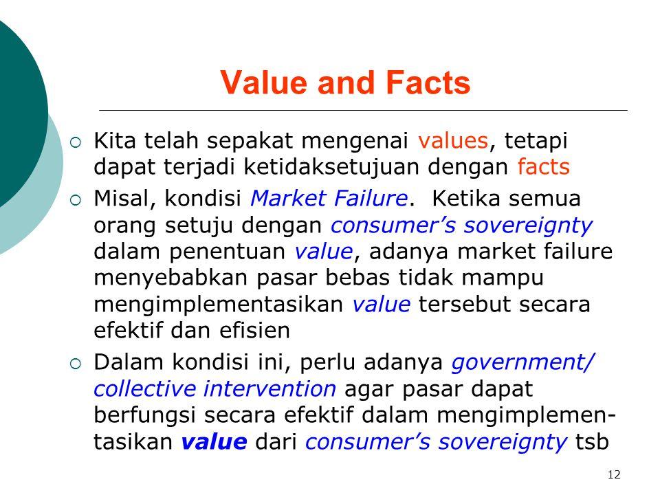 Value and Facts Kita telah sepakat mengenai values, tetapi dapat terjadi ketidaksetujuan dengan facts.