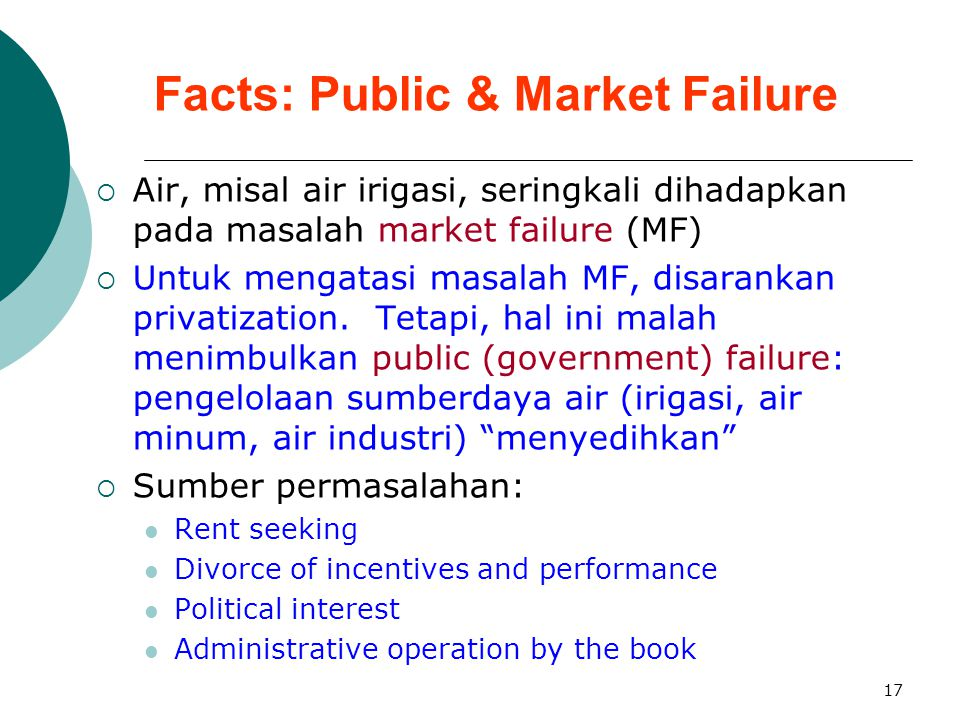Facts: Public & Market Failure