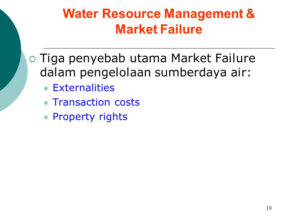 Water Resource Management & Market Failure