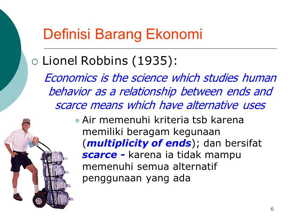 Definisi Barang Ekonomi