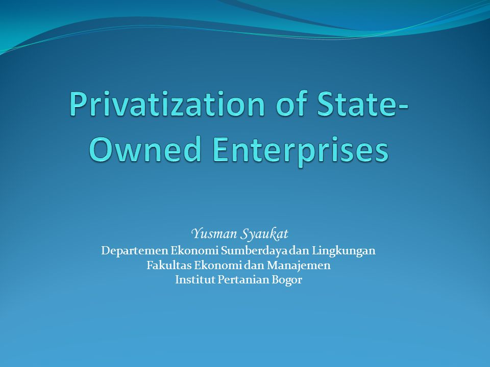 Privatization of State-Owned Enterprises