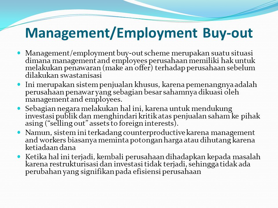 Management/Employment Buy-out