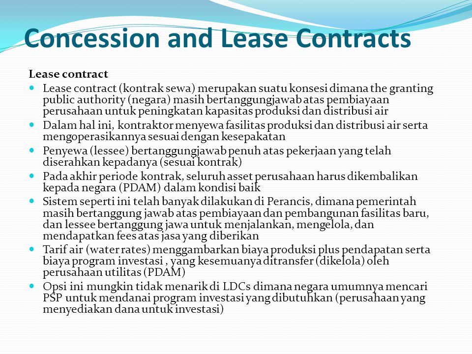 Concession and Lease Contracts