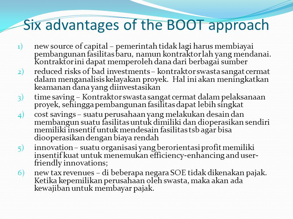 Six advantages of the BOOT approach