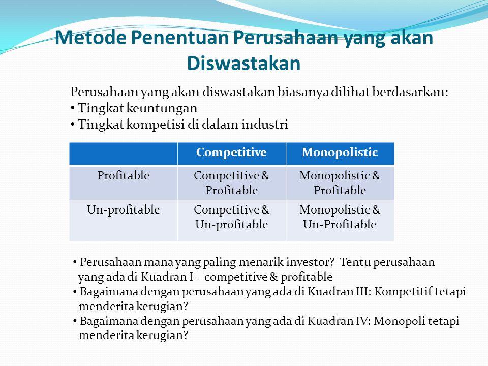 Metode Penentuan Perusahaan yang akan Diswastakan