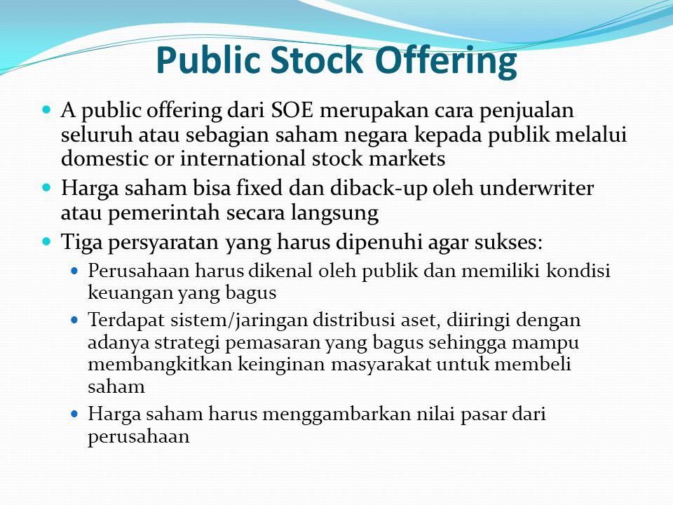 Public Stock Offering