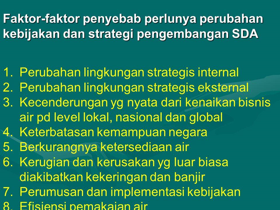 Faktor-faktor penyebab perlunya perubahan kebijakan dan strategi pengembangan SDA
